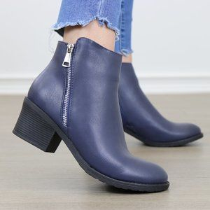 Navy Faux Leather Ankle Boots W/ Silver Zipper